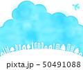 青空と飛行機と木と家の水彩風フレーム枠 50491088
