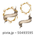 Set of autumn leaves wreaths with ribbon. 50493595