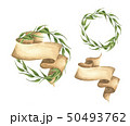 Set of hand drawn green leaves wreaths with ribbon 50493762