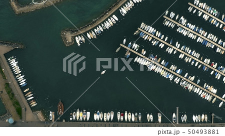 Aerial top down view of a sailboats in lake marina. Lausanne, Switzerland 50493881