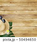 背景-海-夏-ビーチ-ウッドデッキ-モンステラ-プルメリア-麦わら帽子-サングラス 50494650
