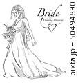 嫁 花嫁 ウェディングドレスのイラスト 50494890