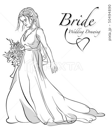 Drawing Bride Holding Bouquet 50494890