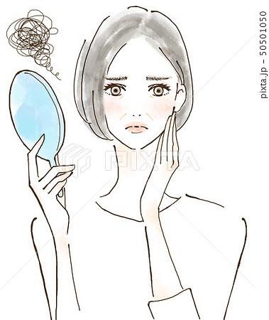 ほうれい線 シワ 紫外線トラブル 日焼けを気にする女性 美容 肌 50501050