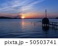 東郷湖と夕陽 50503741
