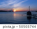 東郷湖と夕陽 50503744