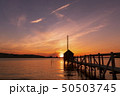 東郷湖と夕陽 50503745