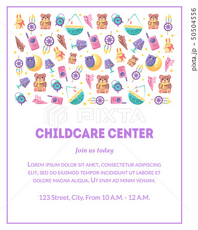 Childcare Center Banner Template with Cute Baby Toys and Place for Text, Design Element Can Be Used 50504556