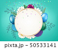 Happy Easter circle frame with decorative elements 50533141
