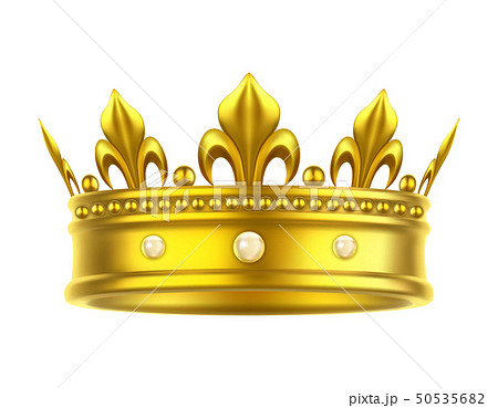 Golden isolated headdress or crown for king, queen 50535682