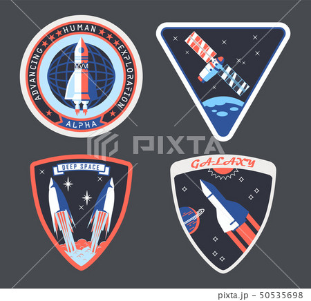 Set of isolated astronaut or cosmonaut patch, sign 50535698