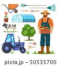 Farm or garden items and farmer with harvest. 50535700