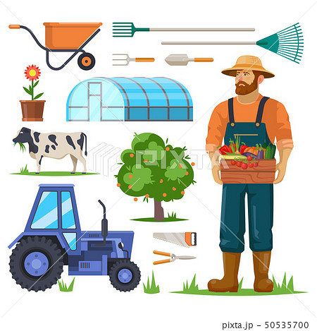Farm or garden items and farmer with harvest. 50535700