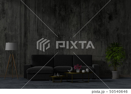 living concrete wall with black sofa in darkness  50540646