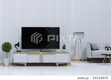 3D rendering of interior living room with Smart TV 50540656