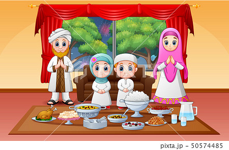 Iftar on holy month of Ramadan with muslim family  50574485