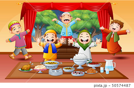Happy muslim kids celebrating the Iftar party 50574487