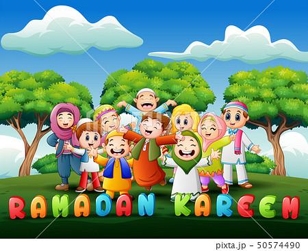 Happy kids celebrate for eid mubarak in the park 50574490