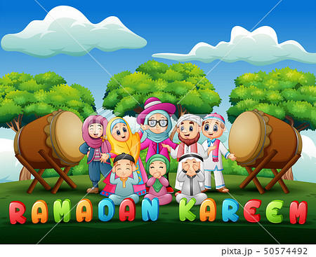 Happy family celebrate for eid mubarak in the park 50574492