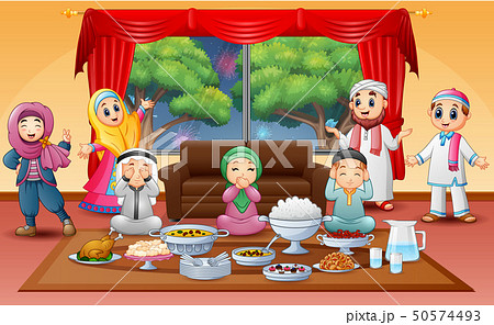 Iftar on holy month of Ramadan with muslim family 50574493
