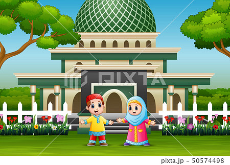 Cartoon of muslim kid in front the mosque 50574498
