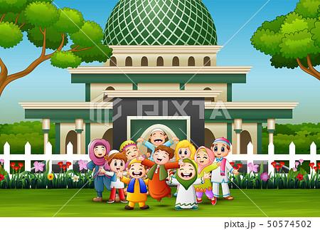 Happy kids celebrate for eid mubarak 50574502