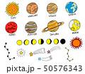 太陽系や星などの手描きイラスト素材セット(カラー) 50576343