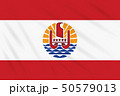 Flag French Polynesia swaying in wind, vector 50579013