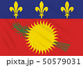 Flag Guadeloupe - variant swaying in wind, vector 50579031