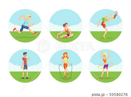 People Doing Sports in Nature Set, Male and Female Athletes Wearing Sports Uniform Exercising 50580276