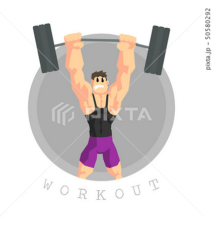 Muscular Man Rising Barbell, Physical Workout Training, Active Healthy Lifestyle Vector Illustration 50580292
