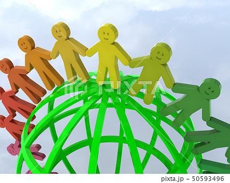 CG 3D イラスト 立体 デザイン アイコン マーク 人 人類 笑顔 輪 地球 世界 平和 50593496