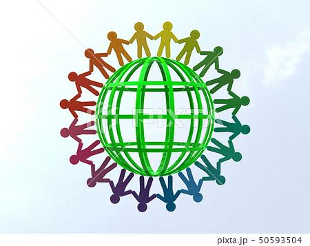 CG 3D イラスト 立体 デザイン アイコン マーク 人 人類 笑顔 輪 地球 世界 平和 50593504