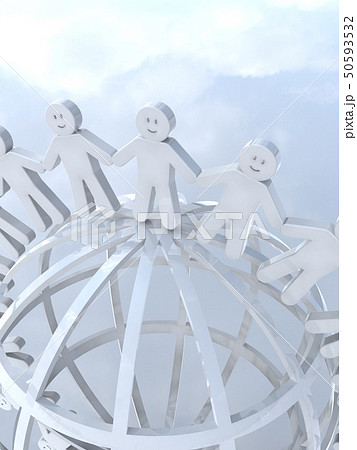 CG 3D イラスト 立体 デザイン アイコン マーク 人 人類 笑顔 輪 地球 世界 平和 50593532