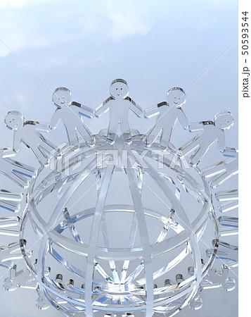 CG 3D イラスト 立体 デザイン アイコン マーク 人 人類 笑顔 輪 地球 世界 平和 50593544