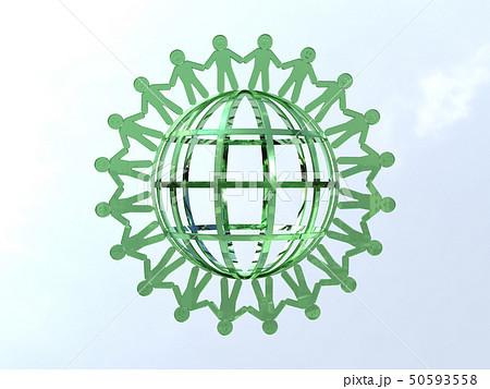 CG 3D イラスト 立体 デザイン アイコン マーク 人 人類 笑顔 輪 地球 世界 平和 50593558