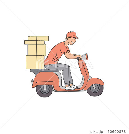 Delivery man riding scooter with boxes 50600878
