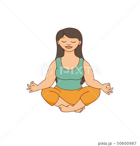 Beautiful curvy plus size woman meditating in lotus pose sketch style 50600987