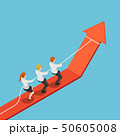 Isometric business team pull red arrow graph up 50605008