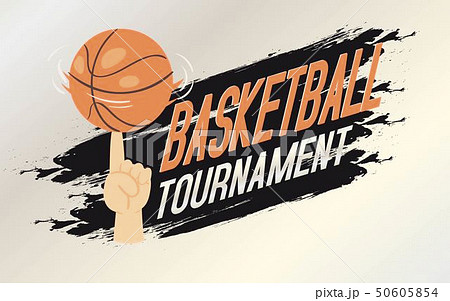 Basketball tournament banner, flyer vector illustration. Person spininig ball on finger 50605854