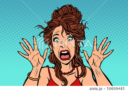 funny scared woman human emotion 50609485