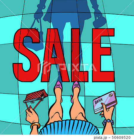 Sale woman with Bank card 50609520