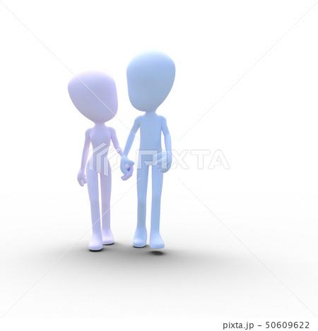 手を繋いで歩く仲良しカップル perming3DCGイラスト素材 50609622