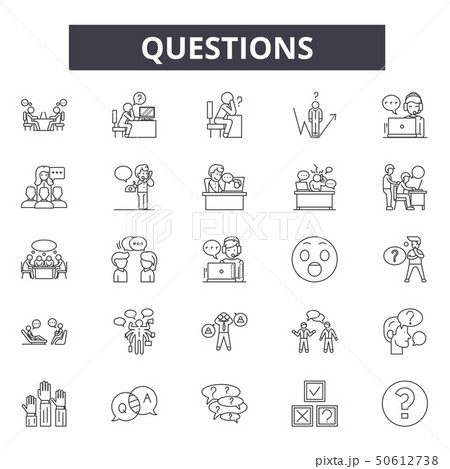Questions line icons, signs, vector set, linear concept, outline illustration 50612738