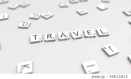 Composing TRAVEL word with letters. 3D rendering 50613813