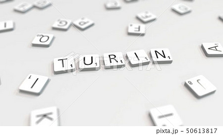 Making TURIN city name with letter tiles. 3D rendering 50613817