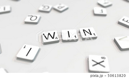 WIN word being made with letters. 3D rendering 50613820