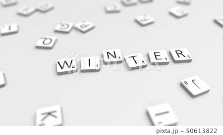 WINTER word being composed with letters. 3D rendering 50613822