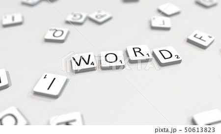 Making WORD text with letter tiles. 3D rendering 50613823