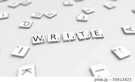 WRITE word being made with letters. 3D rendering 50613825